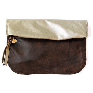 Image of Leather Clutch, distressed brown/metallic champagne