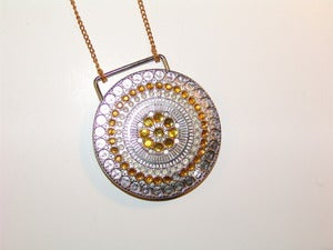 Image of Golden Jeweled Medallion Necklace