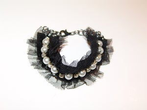 Image of Lace, Pearl, Jewel Bracelet