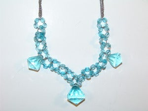 Image of Sweet Blue Bead And Jewel Necklace