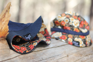 Image of Not For Fishing Reversible Bucket Hat Navy, Denim/ Red Flower Camo