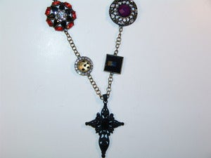 Image of Mixed Jeweled Cross Necklace