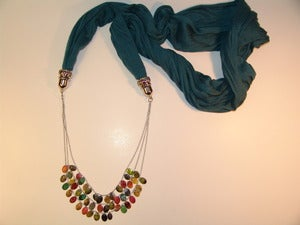Image of Teal Scarf Necklace