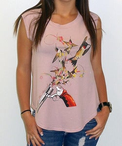 Image of Girls | Hummingbullets | Cap Sleeve Crew | Mauve