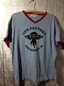 Image of UFO FACTORY new detroit, mi SIZE XL TEE SHIRT black print on vintage thrift store ringer T's
