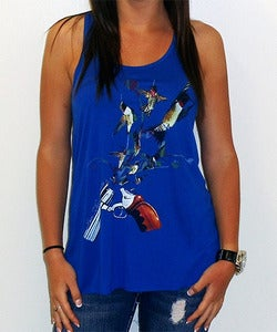 Image of Girls | Hummingbullets | Flowy Racerback Tank Top | True Royal