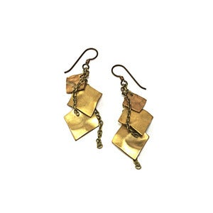Image of hammered geo earrings