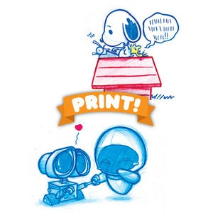 Image of Wall-e and Eva A5 Print! OR Snoopy Print! *FREE SHIPPING!*
