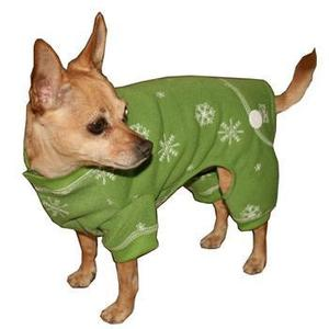 Image of Snowflake Dog Long Johns by Hip Doggie - Green