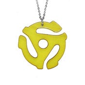 Image of Ltd. Edition 45 Adapter Necklace/Earrings made from a recycled Yellow vinyl record!