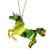 Image of Ltd. Edition Unicorn Necklace/Earrings made from a recycled Yellow Splatter vinyl record!
