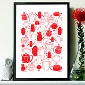 "Image of NEW ""Vintage Coffee"" print in cherry red"