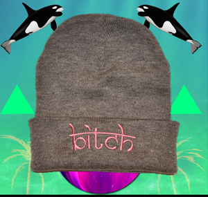Image of pink bitch beanie