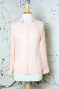 Image of Sheer & Sweet Dotted Swiss Button Down Blouse: Peach