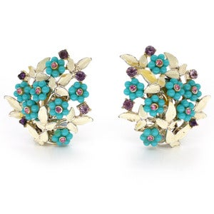Image of Vintage 'Art' Floral Clip On Earrings