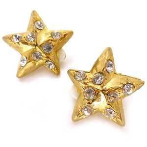 Image of Vintage French Gold Tone Star Rhinestone Clip On Earrings