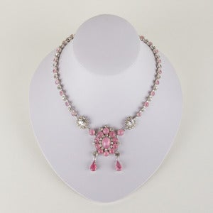 Image of 1950's Rhinestone and Glass Necklace