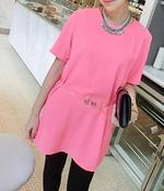 Image of Bella Neon Pink Lace Tunic with Clear Belt