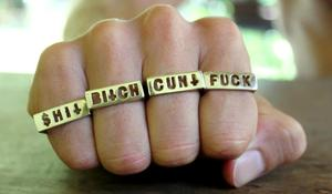 Image of CUNT - FUCK - BITCH - SHIT ! 4 Ring COMBO White Bronze