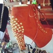 Image of Gold Spiked Rust Bootie 