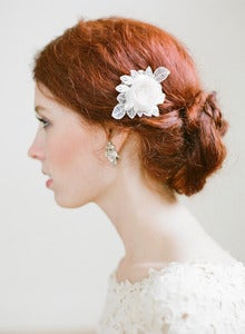 Image of Petite Floral Lace Bridal Comb by Fine and Fleurie