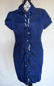 Image of New York &amp; Co. Ruffle Front Shirtdress {Size L}