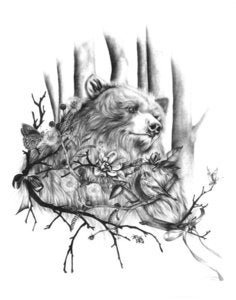 Image of Woodland Bear Print by Burrowing Home