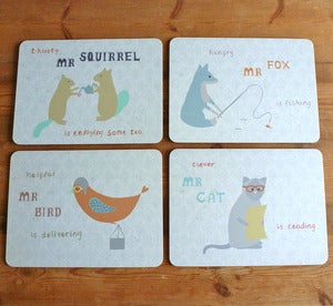 Image of Set of four Animal Character Table Placemats