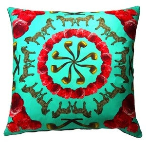 Image of Zebras Pipes N' Roses Silk Cushion