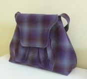 Image of Ombre Plaid Wool Shoulder Bag purple, dark red, grey