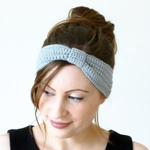 Image of Crochet turban knot headband in light grey