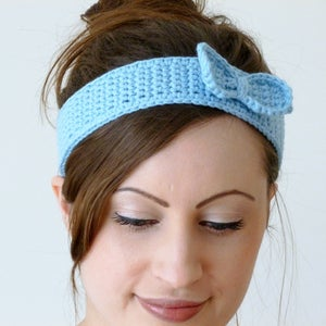 Image of Crochet bow thin headband in blue