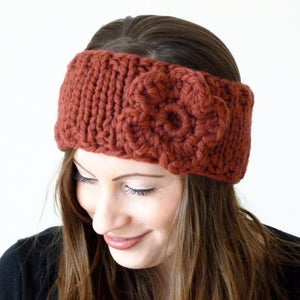 Image of Chunky flower headband in rusty red