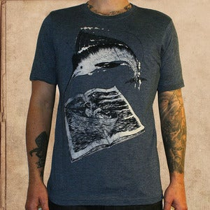 Image of the Old Man and the Sea - antique blue - discharge inks - unisex
