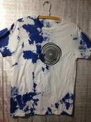 Image of FREE ELECTRICITY logo tee SIZE SMALL blue ink on white tshirt