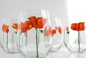 Image of Poppies Stemless Wine Glasses - Set of 2