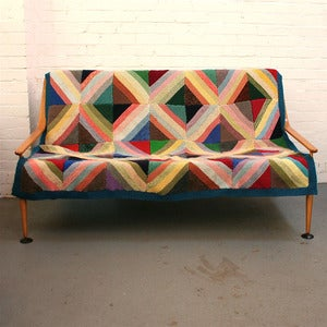 Image of Vintage Geometric Knitted Blanket - SOLD 