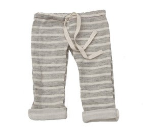 Image of Grey Striped Gauzy Beach Pants