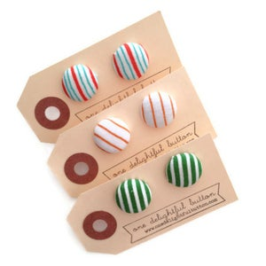 Image of Striped Button Earrings
