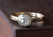Image of Silver White Rose Cut Diamond Ring, 14kt Yellow Gold