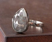 Image of Large Silvery-Grey RoseCut Diamond RIng in 14kt White Gold