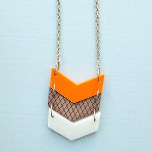 Image of Triple Chevron Necklace - Burnt Orange by Nylon Sky 