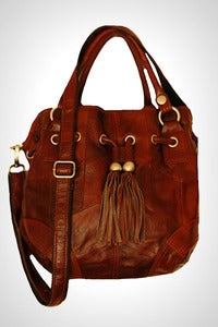 Image of 'Pumpkin Attack!' Brown Leather Hobo Bag