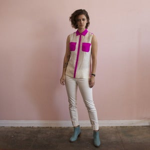 Image of Gretchen Jones fuchsia Arrow's Straight blouse