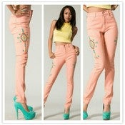 Image of High Waist Aztec Coral Jeans 