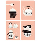 "NEW ! Lot de 4 cartes postales ""Kitchen"""