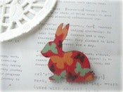 Image of Red, Orange and Blue Butterfly Bunny Brooch