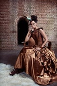 Image of Elegant Belle Victorian Steampunk Bustle Skirt Bronze