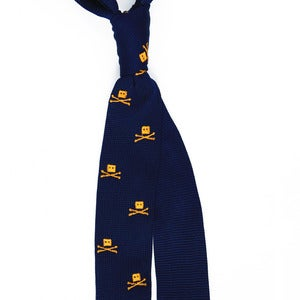 Image of Skull Knit Tie Navy