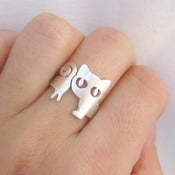 Image of Silver Cat Ring - For cat lovers - handmade sterling silver ring.